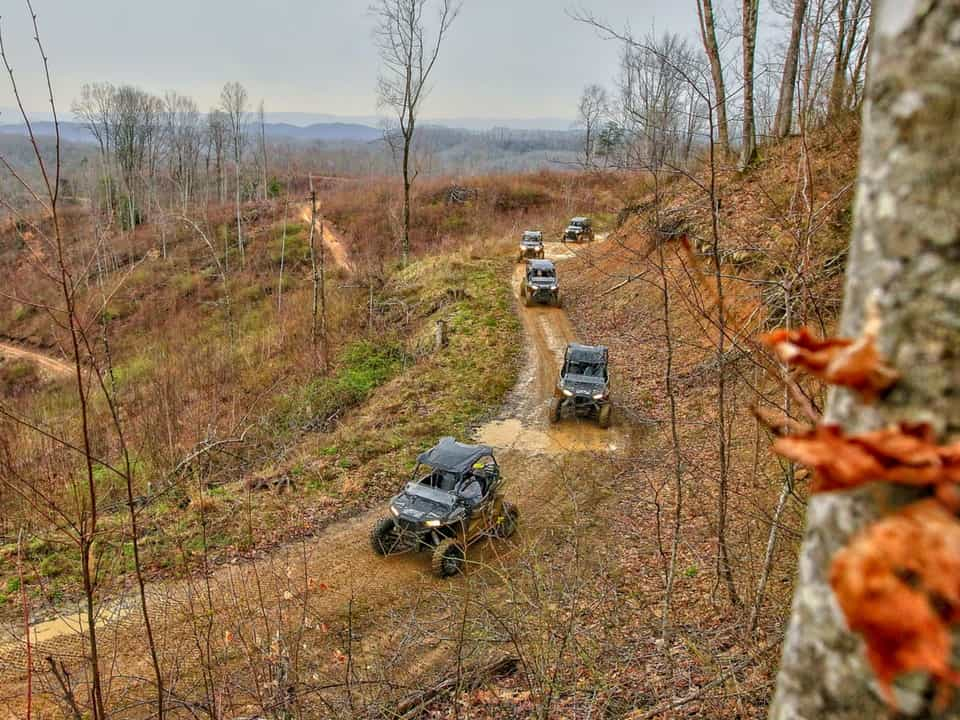 RZR's in a line on the Spearhead Trail