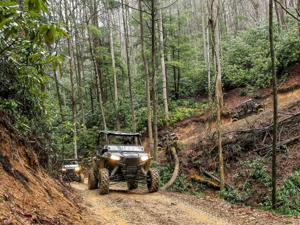 RZR's coming around the corner on the Spearhead Trail