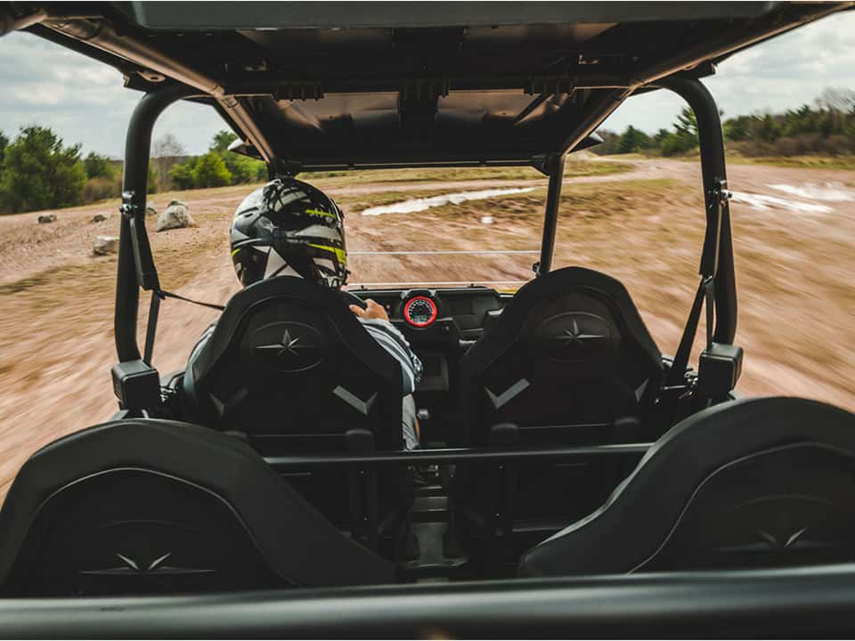 Backseat view of a RZR at Monticello Motor Club