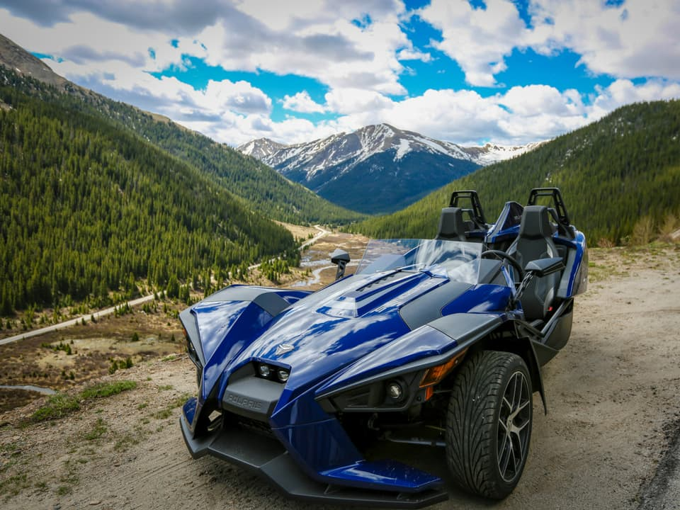 Polaris Slingshot off the road at Independence Pass
