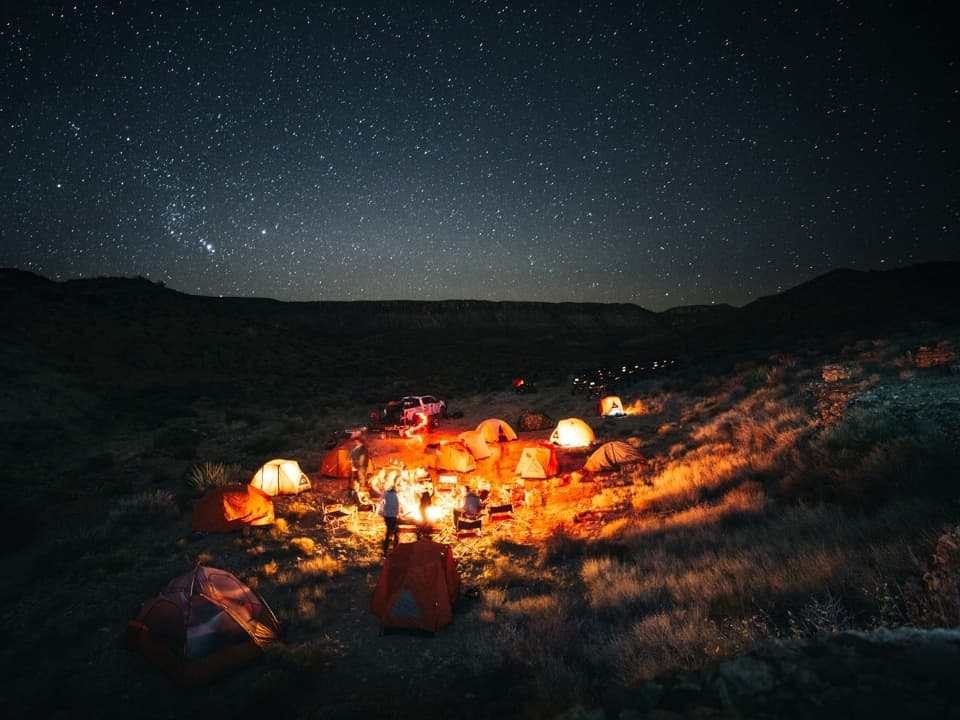 Camping at night on the 4 Day Grand Canyon Tour
