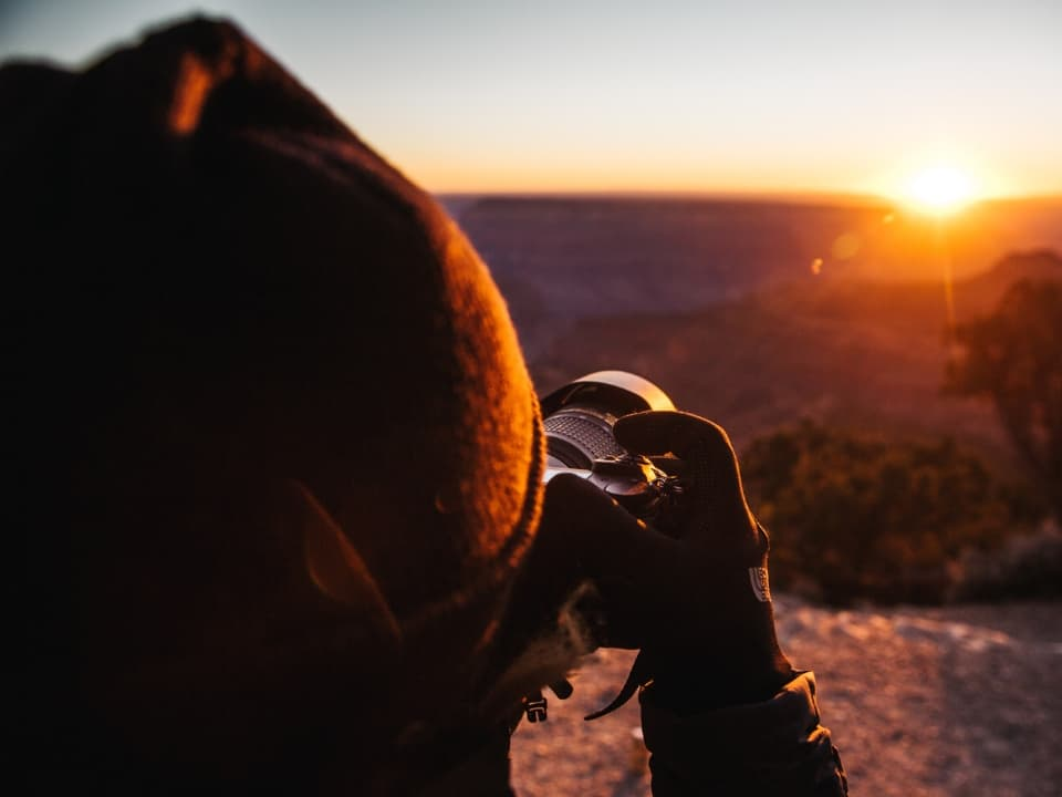 Photographing a sunset at the Grand Canyon