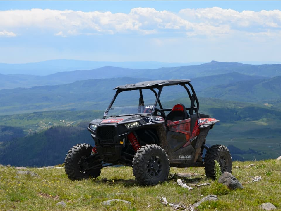RZR with mountain views in Steamboat Springs, Colorado