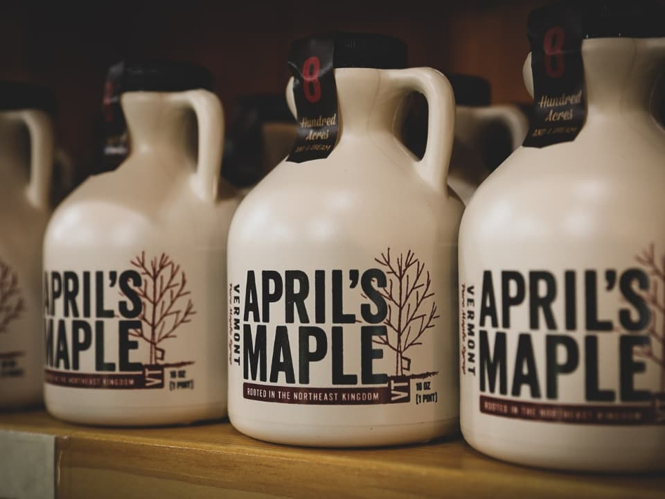 bottles of April's Maple syrup