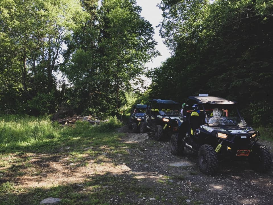 RZR's on the trail on the April's Maple Sugar Shack adventure