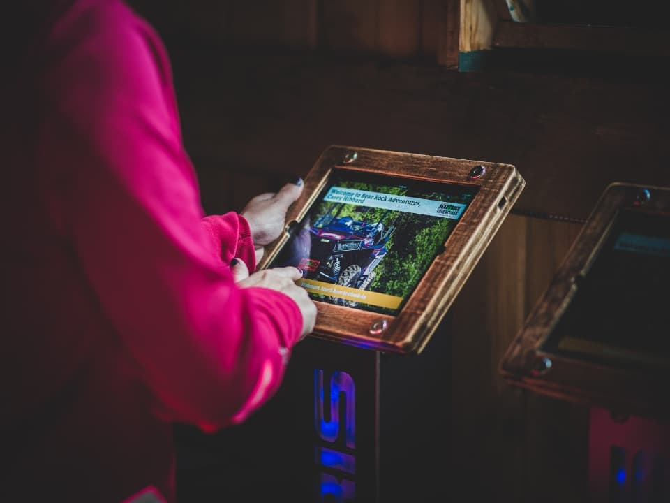 Check-out kiosk at Bear Rock Adventures