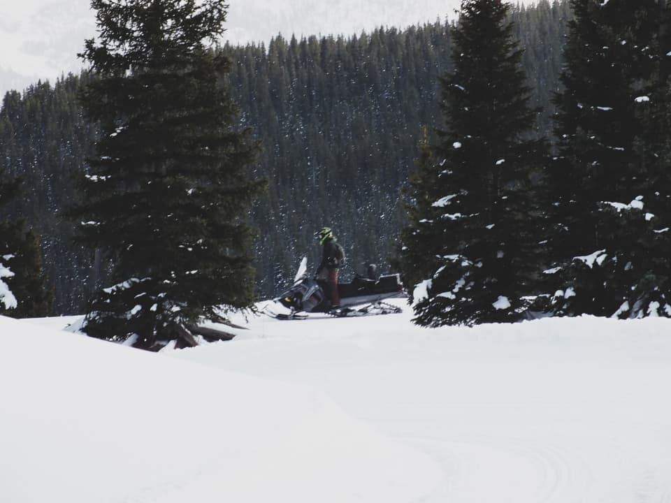 Guest on a sled at Silverton, CO