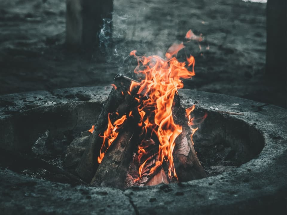 Campfire in the winter