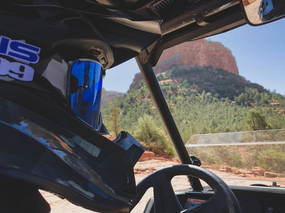 Close-up of guest in a RZR at Sedona