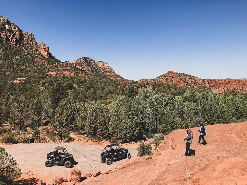 Guests walking down to their RZRs at Sedona