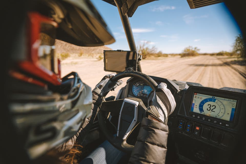 Inside view of a RZR at Ocotillo Wells SVRA