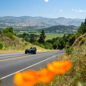 guest driving a Polaris Slingshot up a steep road in the back country of Napa Valley