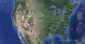 Map of the United States with Polaris Adventures locations pinned