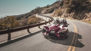 Polaris Slingshot cruising down the highway