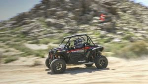 A Polaris off-road vehicle rented from Happy Trails Rental in Lucerne Valley.