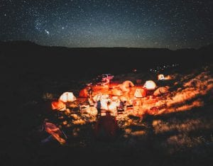Campsite at night in the Grand Canyon