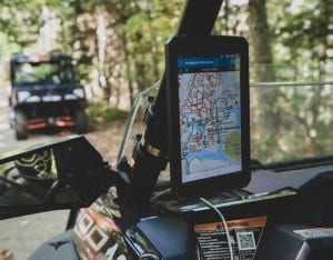 Bear Rock Adventures trail map on a Polaris RZR tablet