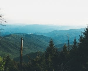 aerial view of the Appalachian mountains
