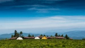 tents set up at the top of a hill in the Appalachian Mountains