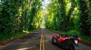 Polaris Slingshot driving down a tropical highway in Hawaii