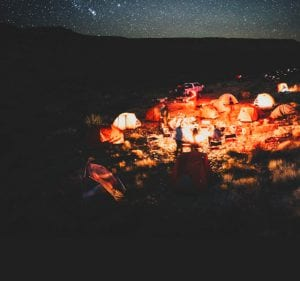 campsite at night in the middle of the desert