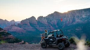 guest overlooking the views of Sedona Arizona off-road trails from a Polaris RZR 900