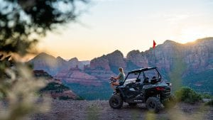guest overlooking the views of Sedona Arizona from a Polaris RZR 900