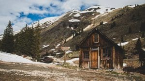 old wooden shed in the Rocky Mountains