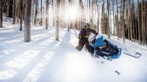guest riding a Polaris Snowmobile down a tree covered hill