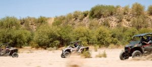 Polaris RZR's riding through the desert trails of Arizona