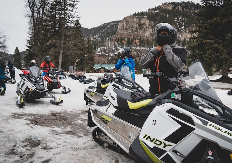 Ladies of Black Girls Ride gearing up for a snowmobile ride