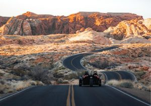 Polaris Slingshot driving through the Valley of Fire